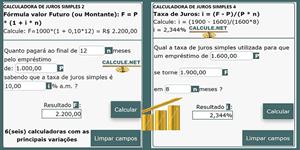 Calculadora de Juros Simples com exemplos de como calcular, fórmula de cálculo, Simulador